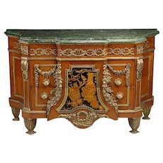 Impressive Rococo style marble top Satinwood Side Cabinet