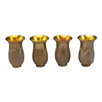 Very Fine Set of four matching Steuben signed Art Glass Shades.