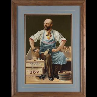 Rare J.B. Lewis Shoemakers Reverse Painted Printer Proof