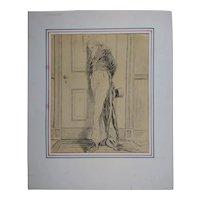"Original Pen & Ink Political Illustration, ""Bulletin"" Charles Green Bush (1842-1909, Anerican)"