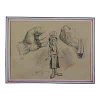 John Campbell Corey (American, FL 1890's-1910's) Political Cartoon Labor-Capitol