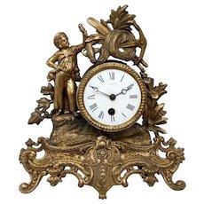 Rococo Style Gilt Metal Figural Mantle Clock