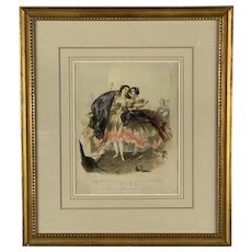 """Early Fire Related Litho  (Ex-Museum Collection) Titled """"The Horrors of Crinoline and Destruction of Human Life"""""""