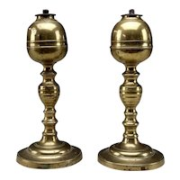 Pair of Early Brass Whale Oil Lamps Attributed to William Webb of Maine, Circa 1820
