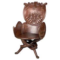 """Rare & Unique """"Fantasy"""" Carved Mahogany Desk Chair"""