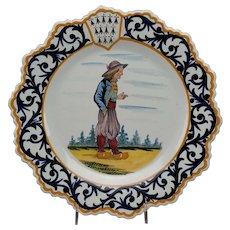 A Rare & Unusual Henriot Quimper Portrait Plate
