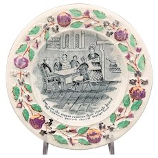 Transfer Decorated Creamware Butter Plate