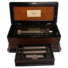 A Rare Antique Ideal Concertina Interchangeable Cylinder Swiss Music Box