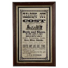 19th Century Black & White Broadside Announcing Clearing Out at Cost For J.J.A. O'Connor Chester, January 7th, 1885