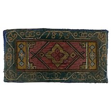 19th Century Folk Art Hand Hooked Rug Dated 1895
