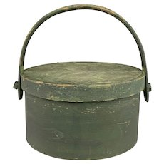 An Early 19th Century Round covered Handled Firkin or Storage Box in Old Green Paint