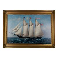 Painiting By S.F.M. Badger (American, 1873-1919) A Portrait Of The Schooner Donna T. Briggs.