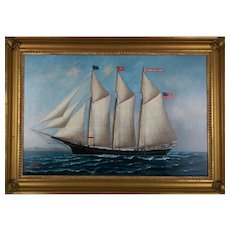 Painting By S.F.M. Badger (American, 1873-1919) A Portrait Of The Schooner Donna T. Briggs.