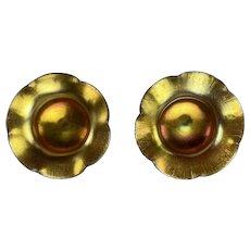 Two Fantastic Steuiben Gold Aurene Footed Salt Dips