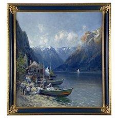 Arthur Vidal Diehl (1870-1929) Oil on Board,  A European Fishing Village
