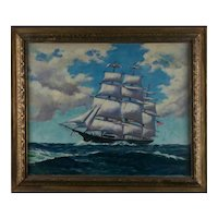 """Painting by L. Knapp  """"Portrait of an American Three Masted Ship"""""""