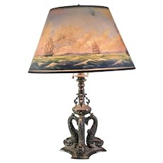 Fine Pairpoint Dolphin Base Table Lamp With Reverse Painted Lansdowne Shade