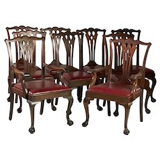 Set Of 9 Antique Chipppendale Carved Mahogany Ball & Clawfoot Dining Chairs