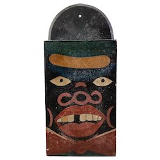 Outstanding Folk Art Hand Painted Knife Box Depicting An African American