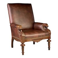Exceptional Gentleman's Carved Antique Mahogany Library Armchair With Carve Dogs Heads.