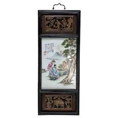 Wonderful Chinese Enameled Porcelain Framed Plaque.