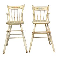 A Rare & Extraordinary Pair of Thumb-Back Windsor Painted & Decorated High Chairs