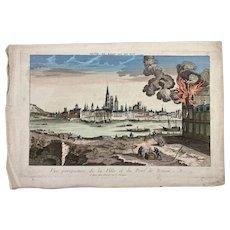 """Engraving """"Vue Perspective de La Ville et due Pont de Rouen"""""""