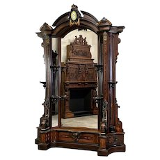 Exceptional Aesthetic Movement Inlaid Rosewood Pier Mirror/Etagere