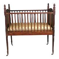 Rare Sheraton Carved Mahogany Child's Crib.