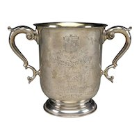 Beatifully Engraved Antique Marcum Club Sterling Silver President's Cup Trophy For A Pool Tournament.