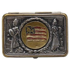 Unusual Antique Patriotic Silver Plate Match Safe.
