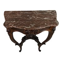 Truly Exceptional Rococo Rosewood Console With Marble Top.
