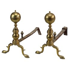 Pair of Early 19th Century Brass Andirons