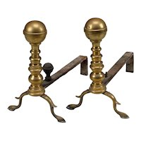 Good Pair of 19th Century Brass Ball Top Andirons
