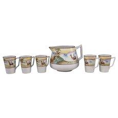 Handpainted Japanese Porcelain Cider Set Marked Nippon