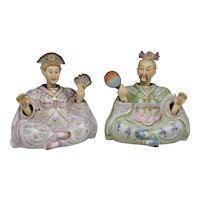 Fine & Unusual Signed Pair of Chinese Porcelain Seated Nodders