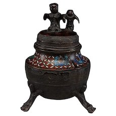 Unusual Chinese Cloisonne & Bronze Tripod Censer