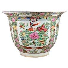 Large Chinese Rose Medallion Porcelain Planter