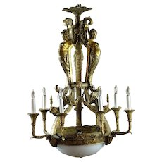 Outstanding Cast Brass Neoclassical Chandelier