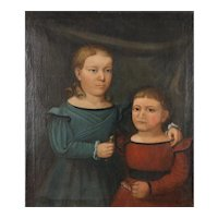 Very Nice Oil on Canvas Double Portrait of a Young Brother & Sister by Horace Bundy
