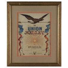 """Great Union Civil War Musical Cover Sheet Titled """"The Union Medley"""" by William Dressler"""