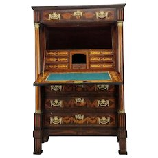 Exquisite 19th Century Marquetry And Parquetry Inlaid Secretaire A Abattant.