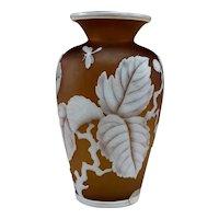 Cameo Art Glass Dark Amber Vase