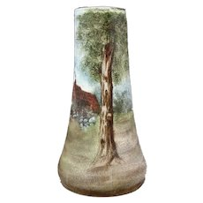 Unusual Royal Bayreuth Style Tapestry Vase With Scenic Decoration.