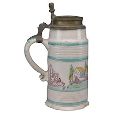 Early Earthenware Faience Stein with Pewter Lid