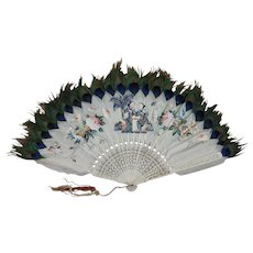 Fine Antique Chinese Export Feather & Mother of Pearl Decorated Fan