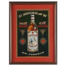 A Rare Red Cross Grape Brandy Advertising Reverse Printer's Proof