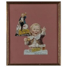 Framed Two Hires Root Beer Trading Cards