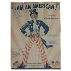 "Sheet Music Cover, ""I Am An American"""