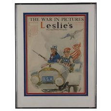 """Leslie's Weekly Magazine Cover: The War in Pictures Titled """"USA"""""""